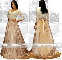 Атласное платье со шлейфом