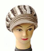 Кепка женская вязаная Альбина шерсть натуральная цвет кофе