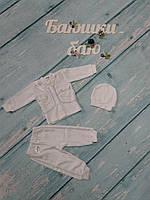Нарядный костюм для новорожденного (велюр), р. 0-3 мес.