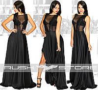 Черное платье в пол с кружевным верхом
