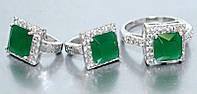 """Набор  """"серьги и кольцо"""",покрытие родием. Камень:белый и зелёный циркон. Высота серьги: 1,5 см Ширина: 10 мм"""