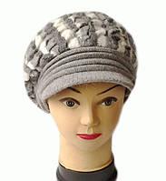 Берет с козырьком женский вязаный Альбина шерсть натуральная цвет серый