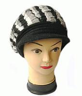 Кепка женская вязаная Альбина шерсть натуральная цвет черный