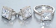 """Набор  """"серьги и кольцо"""",покрытие родием. Камень:белый циркон. Высота серьги: 1,5 см Ширина: 10 мм 19"""