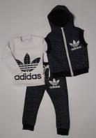 """Детский теплый костюм-тройка """"Adidas"""", на флисе, рост от 80 до 116 см"""