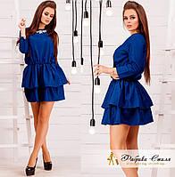 Джинсовое женское платье с воланами