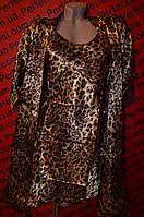 Леопардовый атласный комплект халат и пеньюар