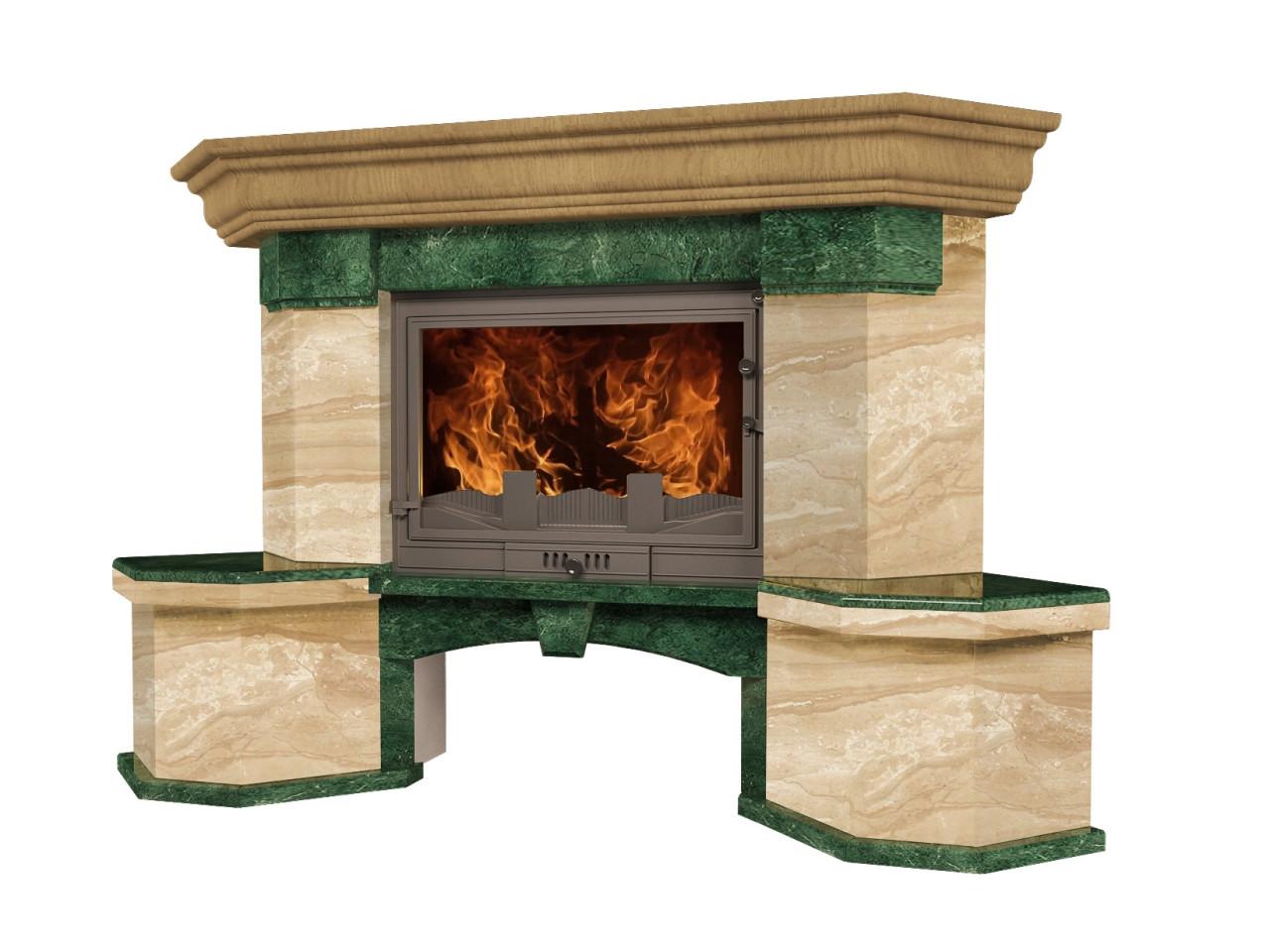 Портал для камина (облицовка) Флоренция из натурального мрамора Verde Guatemala, Daino Reale