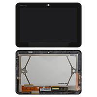 Дисплейный модуль (дисплей + сенсор) для Toshiba AT200, с рамкой, черный, оригинал