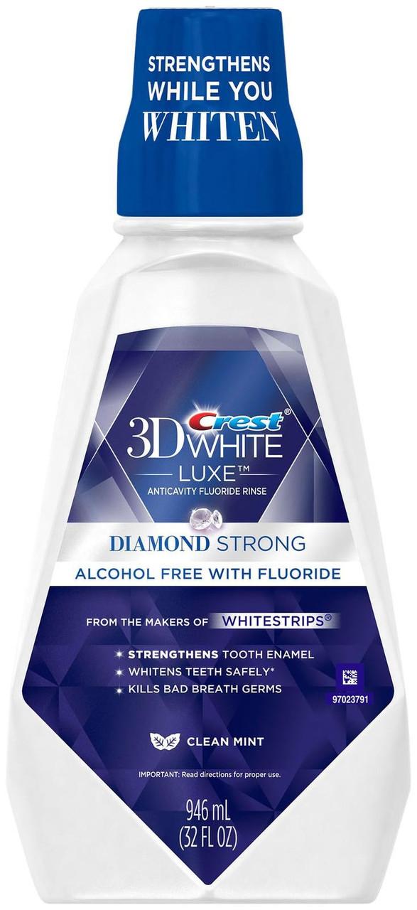 """Crest Mouthwash 3D White Luxe Diamond Strong Clean Mint- Ополаскиватель для полости рта """"Диамант"""", 946 мл"""