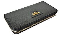 Женский кожаный кошелек, клатч, портмоне Bretton из натуральной кожи. Цвет черный