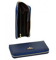 Женский кожаный кошелек, клатч, портмоне Bretton из натуральной кожи. Цвет синий