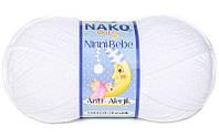 Детская пряжа нитки для вязания Nako Ninni Bebe. Белая
