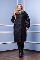 Красивое пальто зимнее женское черное натуральный мех П-987 В014