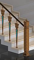 Опорный столб лестничного ограждения, латунь.