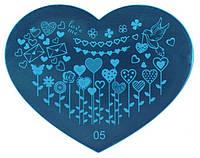 Пластина сердечко для стемпинга, печать на ногтях 05