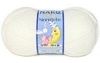 Детская пряжа нитки для вязания Nako Ninni Bebe. Кремовая