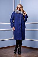 Пальто зимнее женское в 2х цветах натуральный мех П-987