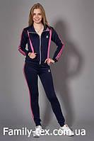 Женский молодежный спортивный костюм, темно синий с розовым, р. S, M, L, XL