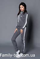 Женский молодежный спортивный костюм, серый с белым р. S, M, L, XL