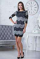 Черно-белое гипюровое платье прилегающего силуэта