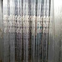 Тюль сеточка  букле 171116. цвет фрезово -бежевый с молочным