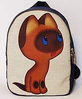 Джинсовый рюкзак котенок Гав
