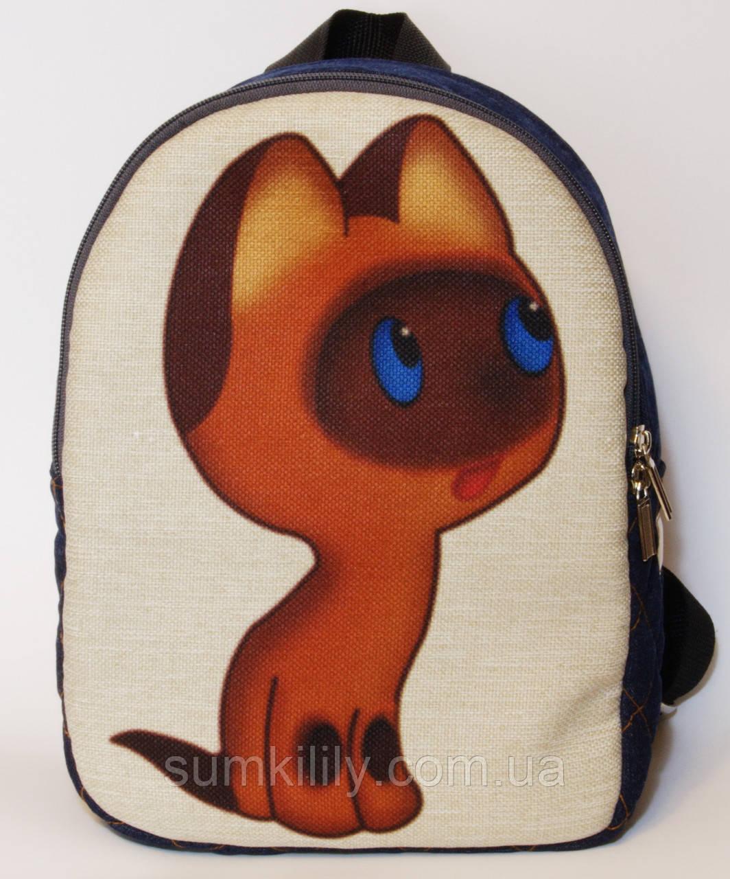 Джинсовый рюкзак котенок Гав, фото 1