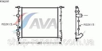 Радиатор без кондиционера до 2008 Solenza/Logan 1.4-1.6 7700836301 AVA RT 2197