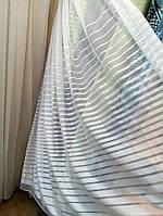 Тюль полосатый низ, белый, сеточка