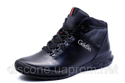 Зимние ботинки Gekon, мужские, на меху, натуральная кожа, черные