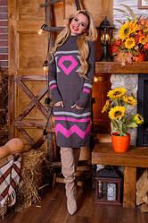Платья вязанные трикотажные с вышивкой р 42-48