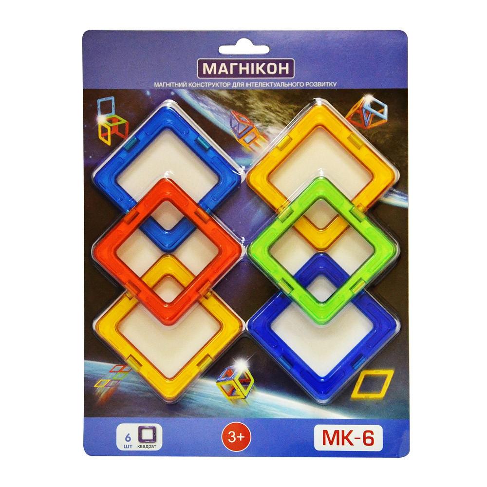 Магнитный 3Д конструктор Магникон квадрат 6 шт (МК-6)