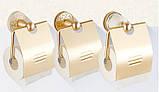 Настенный держатель туалетной бумаги цвета золото с крышкой, фото 3