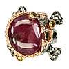 Серебряное Кольцо с Натуральным Рубином и Сапфирами
