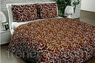 Постельный комплект Голд двуспальный с евро простыню шоколад