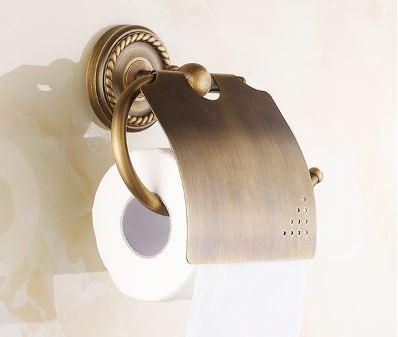 Европейский настенный держатель туалетной бумаги с крышкой бронза 0268