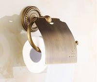Европейский настенный держатель туалетной бумаги с крышкой бронза 0268, фото 1