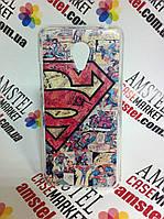 Силиконовый чехол бампер для Meizu M3s с картинкой Супермен комиксы
