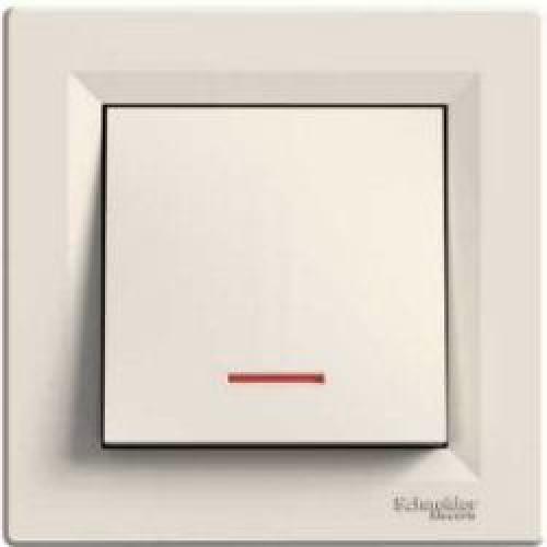SHNEIDER ELECTRIC ASFORA Выключатель кнопочный с подсветкой 250В Крем