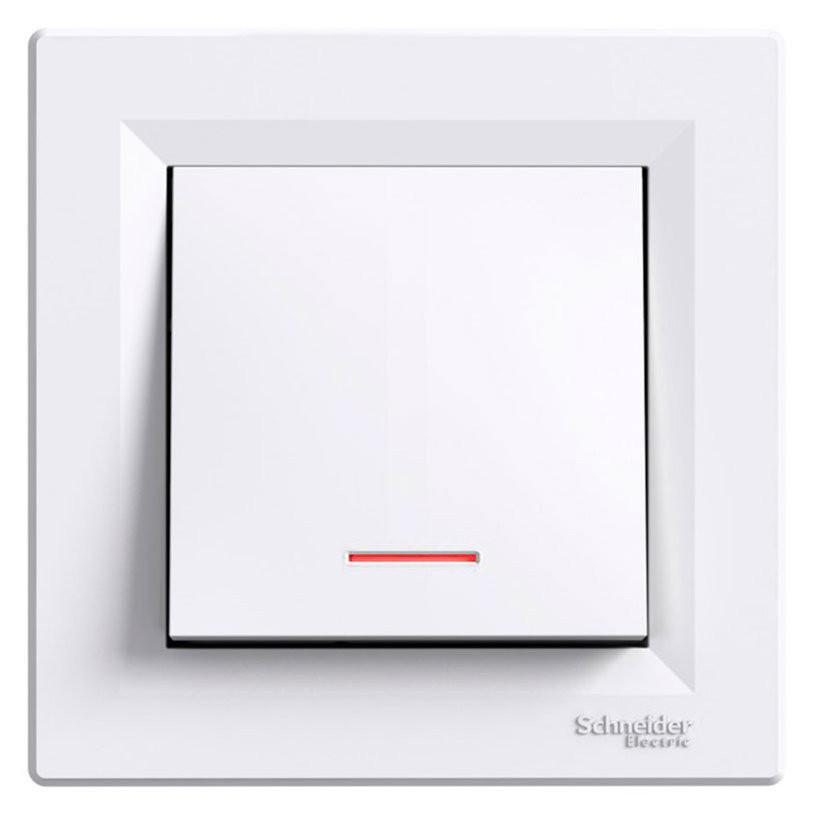 """SHNEIDER ELECTRIC ASFORA Выключатель кнопочный с подсветкой с символом """"Винт"""" Белый"""
