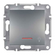 """SHNEIDER ELECTRIC ASFORA Выключатель кнопочный с подсветкой и символом """"Свет"""" Сталь"""