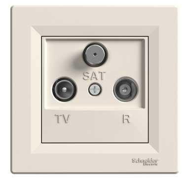 SHNEIDER ELECTRIC ASFORA TV-R-SAT Розетка проходная 8 dВ Крем
