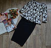 Костюм(48-52) кофта-баска+юбка, принт цветы напыление пенка + черный