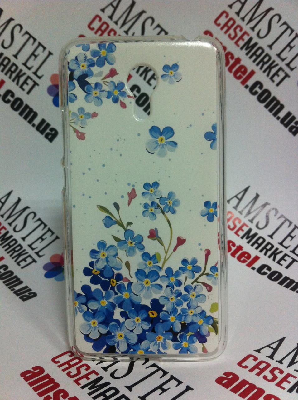 Силіконовий чохол для Meizu M3 Note з картинкою сині квіточки
