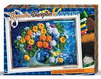 """Вышивка бисером и лентами картины """"Хризантемы"""" в рамке"""
