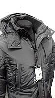 Куртка зимняя серая удлиненная