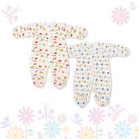 Теплые байковые человечки ясельные для новорожденных (мальчик, девочка) с закрытыми ручками ТМ Фламинго