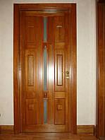 Дверь межкомнатная из массива ясеня с филёнками и стеклом