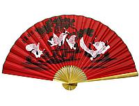 8 журавлей на красном фоне веер настенный
